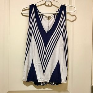 White and blue v-neck tank, geometric print